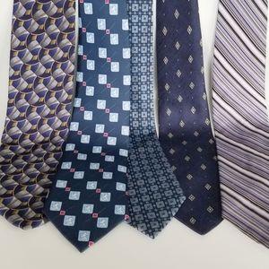 Lot of 5 blue purple tone ties silk neckties
